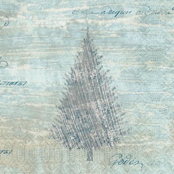 DUNI Zelltuch Serviette 33x33cm 1/4F.Blue Winter
