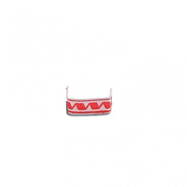 Beutelverschluss u-förmig 3cm  rot/weiß