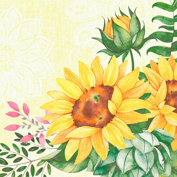 DUNI Klassik Serviette 40x40cm 1/4F. Sunflower