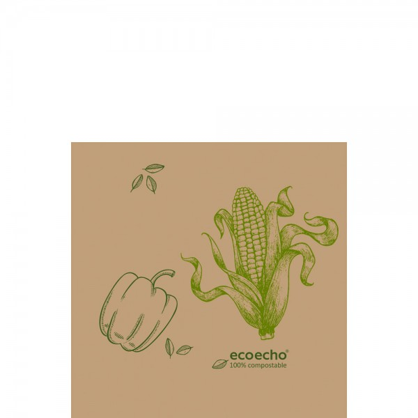 DUNI Zelltuch Serviette 33x33 cm 1/4F. Veggies braun
