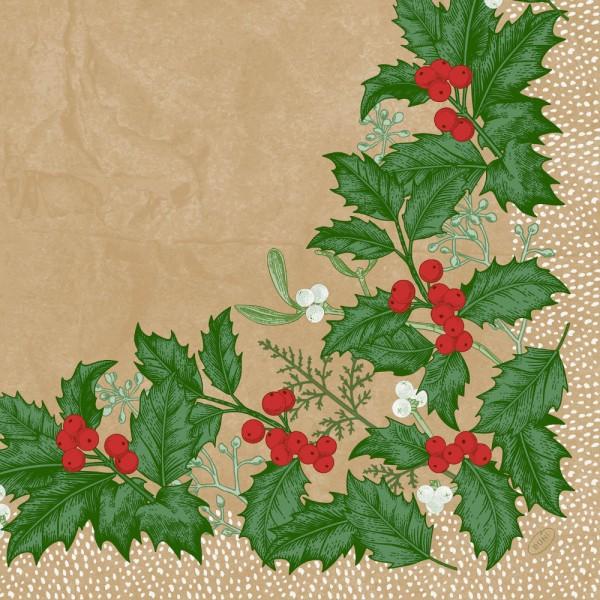 DUNI Klassik Serviette 40x40cm 1/4. Snowy Berries