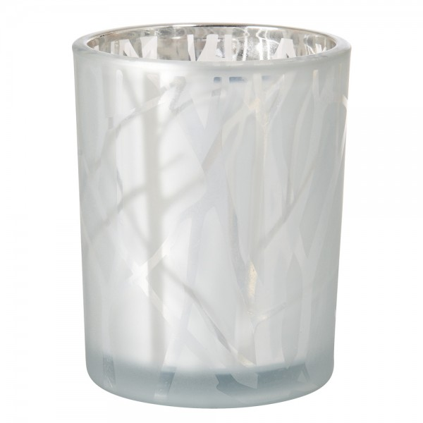 DUNI Kerzenglas Shimmer 100x80mm Weiß