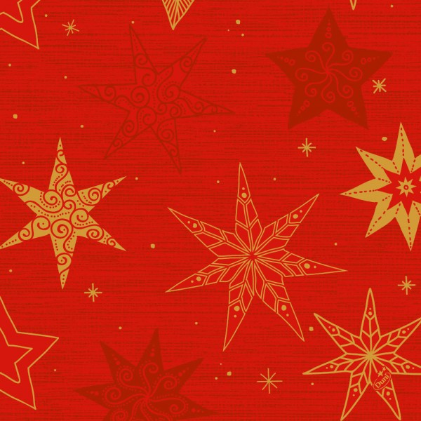 DUNI Zelltuch Serviette 40x40cm 1/4F. Star Stories Red