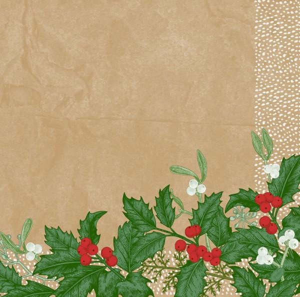 DUNI Dunisoft Serviette 40x40cm 1/4.Snowy Berries