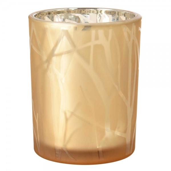 DUNI Kerzenglas Shimmer 100x80mm Sand