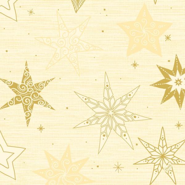 DUNI Zelltuch Serviette 40x40cm 1/4F. Star Stories Creme