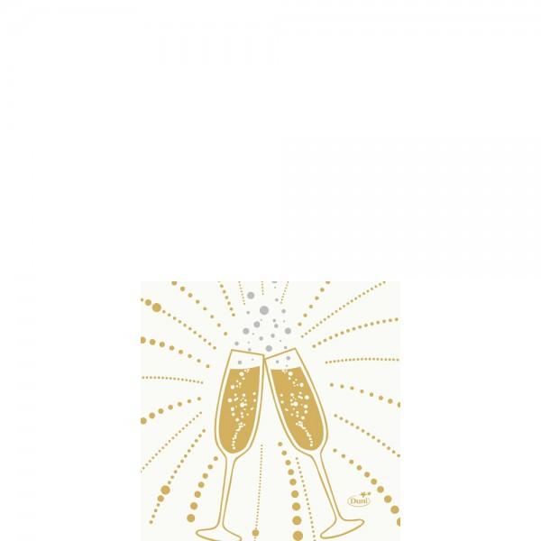 DUNI Zelltuch Serviette 24x24cm 1/4F.Festive Cheer White