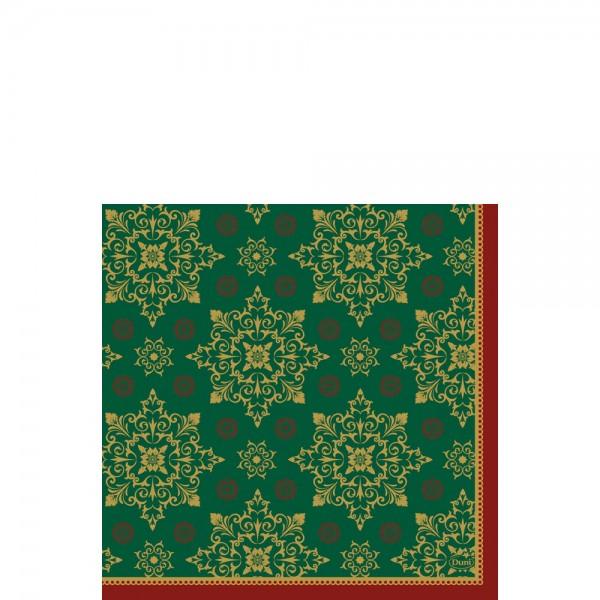 DUNI Zelltuch Serviette 33x33cm 1/4F.Xmas Deco Green