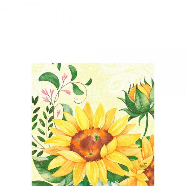 DUNI Zelltuch Serviette 33x33 cm 1/4F. Sunflower