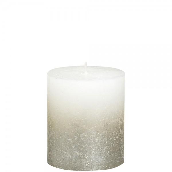 Stumpenkerze Rustik 8cm Ø 6,8cm Weiß mit Metallic silber