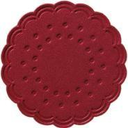 Tassendeckchen rund Ø 7,5 cm bordeaux