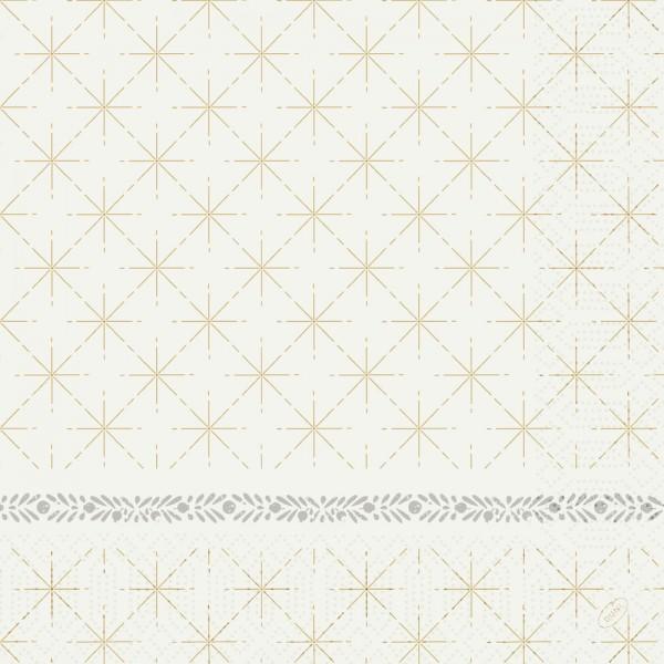 DUNI Zelltuch Serviette 40x40cm 1/4F. Glitter White
