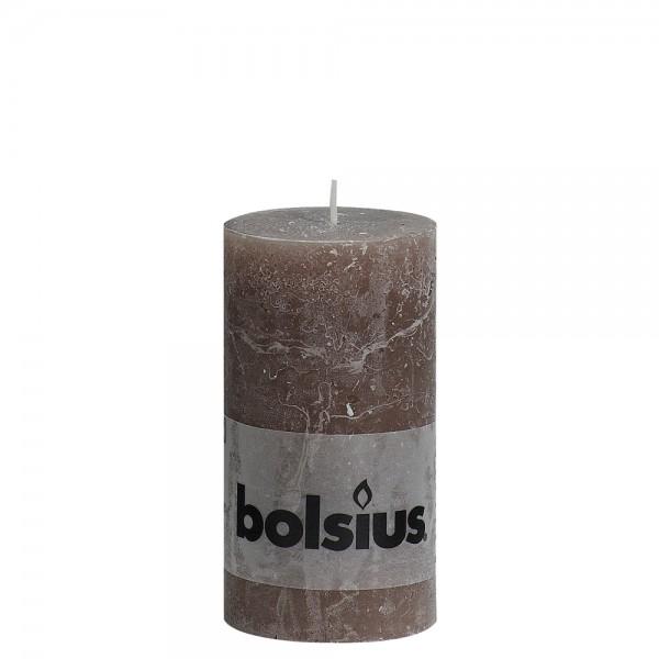 Stumpenkerze Rustik 10cm Ø 5cm Taupe