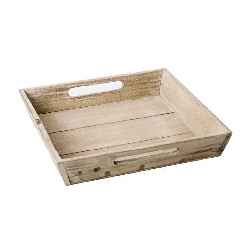 Holztablett 28x28x4.5 cm Braun