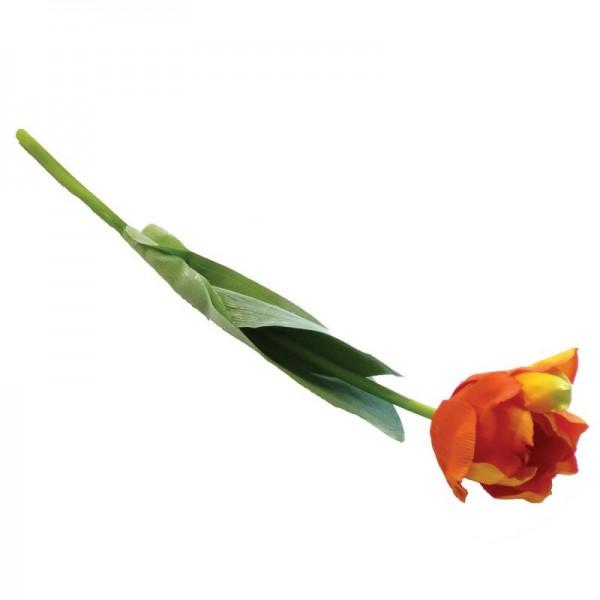 Deko-Tulpe 46cm orange/grün