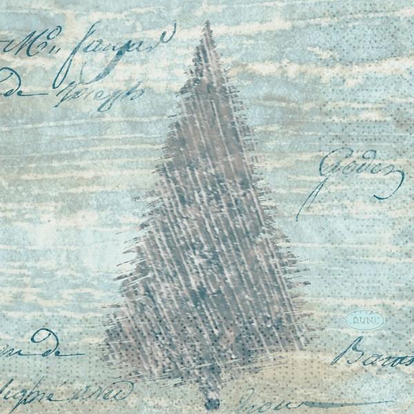 DUNI Zelltuch Serviette 24x24cm 1/4F.Blue Winter