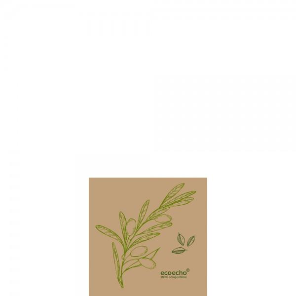 DUNI Dunisoft Serviette 20x20 cm 1/4F.Veggies Braun
