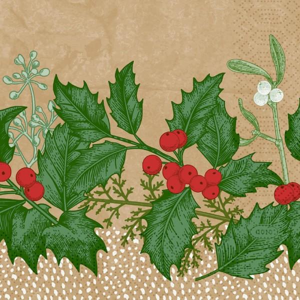 DUNI Zelltuch Serviette 24x24cm 1/4F.Snowy Berries
