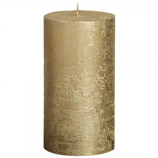 Stumpenkerze Rustik Metallic 13cm Ø 6,8cm Gold