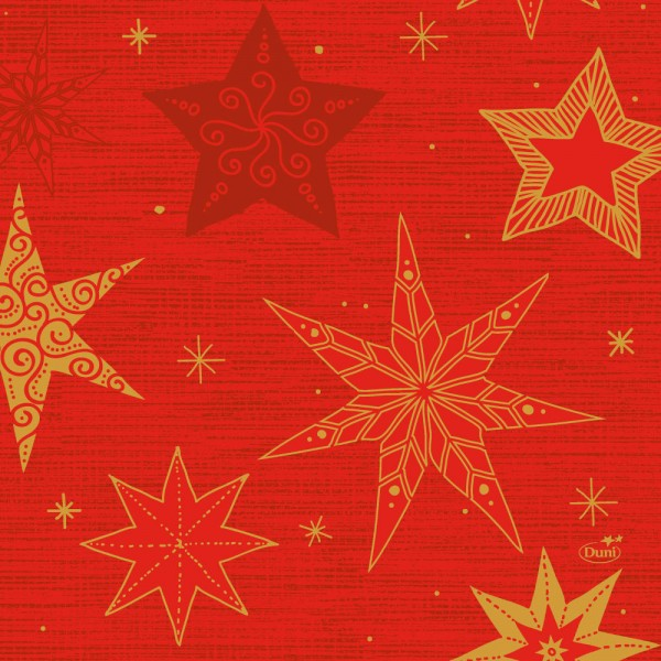 DUNI Zelltuch Serviette 33x33cm 1/4F.Star Stories Red