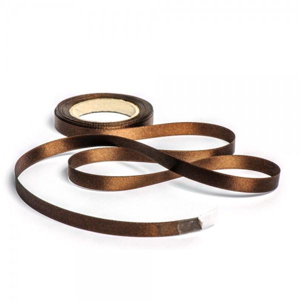 Geschenkband mit Druck 10mm breit 100 Meter schokobraun