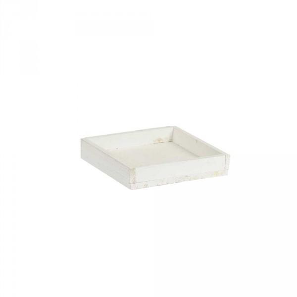 Holztablett 14x14x3 cm Weiß