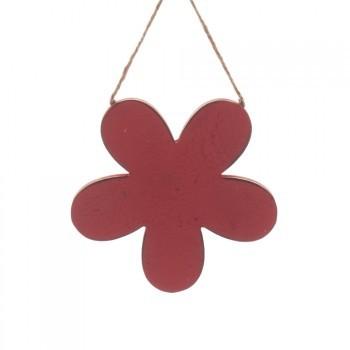 Holz-Hänger Blume 15x15x2cm rot