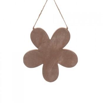 Holz-Hänger Blume 15x15x2cm grau