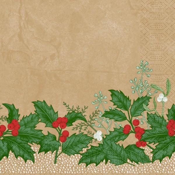DUNI Zelltuch Serviette 40x40cm 1/4F. Snowy Berries