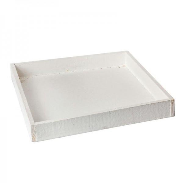 Holztablett 30x30x4 cm Weiß