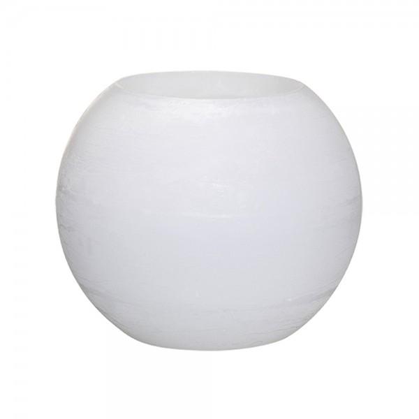 Wachswindlicht Rustik Höhe11 cm Ø 15cm Weiß