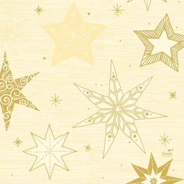 DUNI Zelltuch Serviette 33x33cm 1/4F.Star Stories Creme