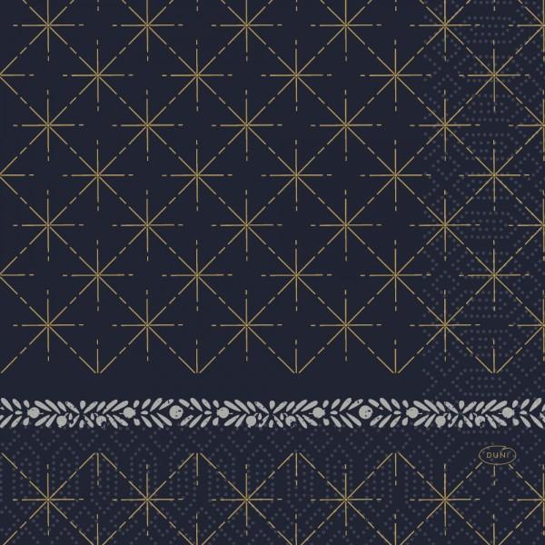 DUNI Zelltuch Serviette 33x33cm 1/4F. Glitter Black