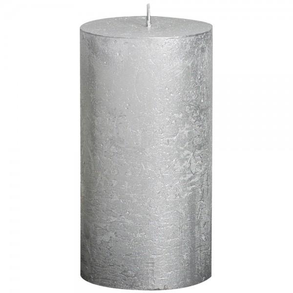 Stumpenkerze Rustik Metallic 13cm Ø 6,8cm Silber