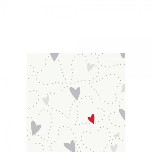 DUNI Zelltuch Serviette 33x33 cm 1/4F. Love