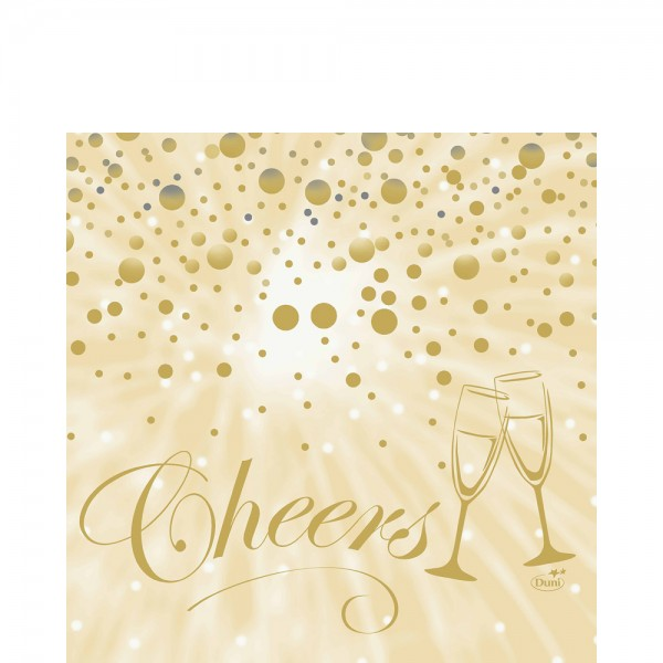 DUNI Zelltuch Serviette 33x33cm 1/4F.Best Wishes Cream
