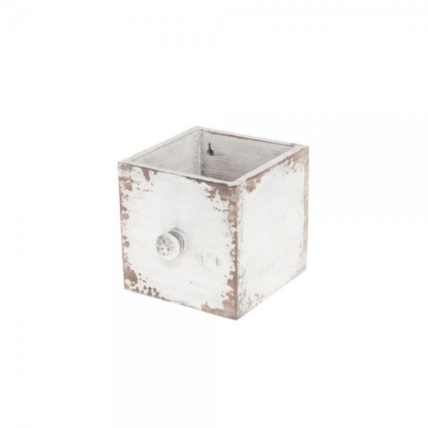 Holzschublade 12x12x12 cm Antique Weiß