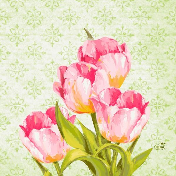 DUNI Zelltuch Serviette 40x40 cm 1/4F. Love Tulips